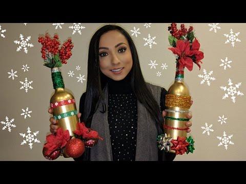 COMO DECORAR BOTELLAS | NAVIDEÑAS  ♥♥♥ DIY CHRISTMAS BOTTLES  ♥♥♥ Andy Lo