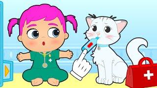 LILY Y KIRA 🤒 Doctora Lily cuida de la enferma gatita Kira 🐱 Gameplay para niños