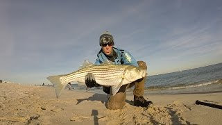 Tough to Awesome! Jersey Striped Bass Surf Fishing w/ Metal Lip Swimmer