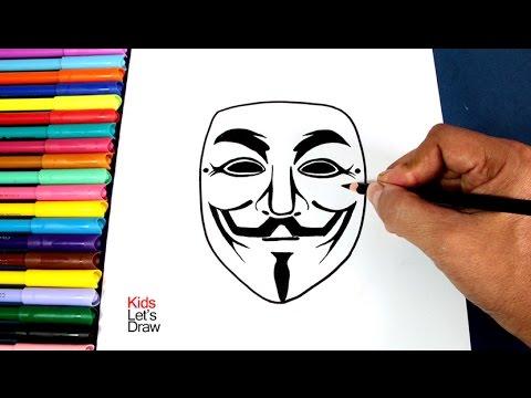 Cómo dibujar la máscara de ANONYMOUS (Máscara Guy Fawkes) | How to ...