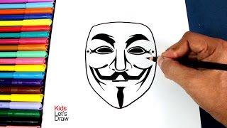 Cómo dibujar la máscara de ANONYMOUS (Máscara Guy Fawkes) | How to draw the Anonymous Mask