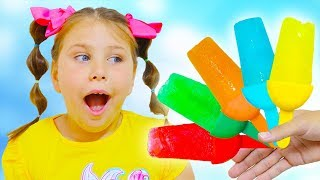 Ali and Adriana making Ice cream , Learn colors with finger family children's song