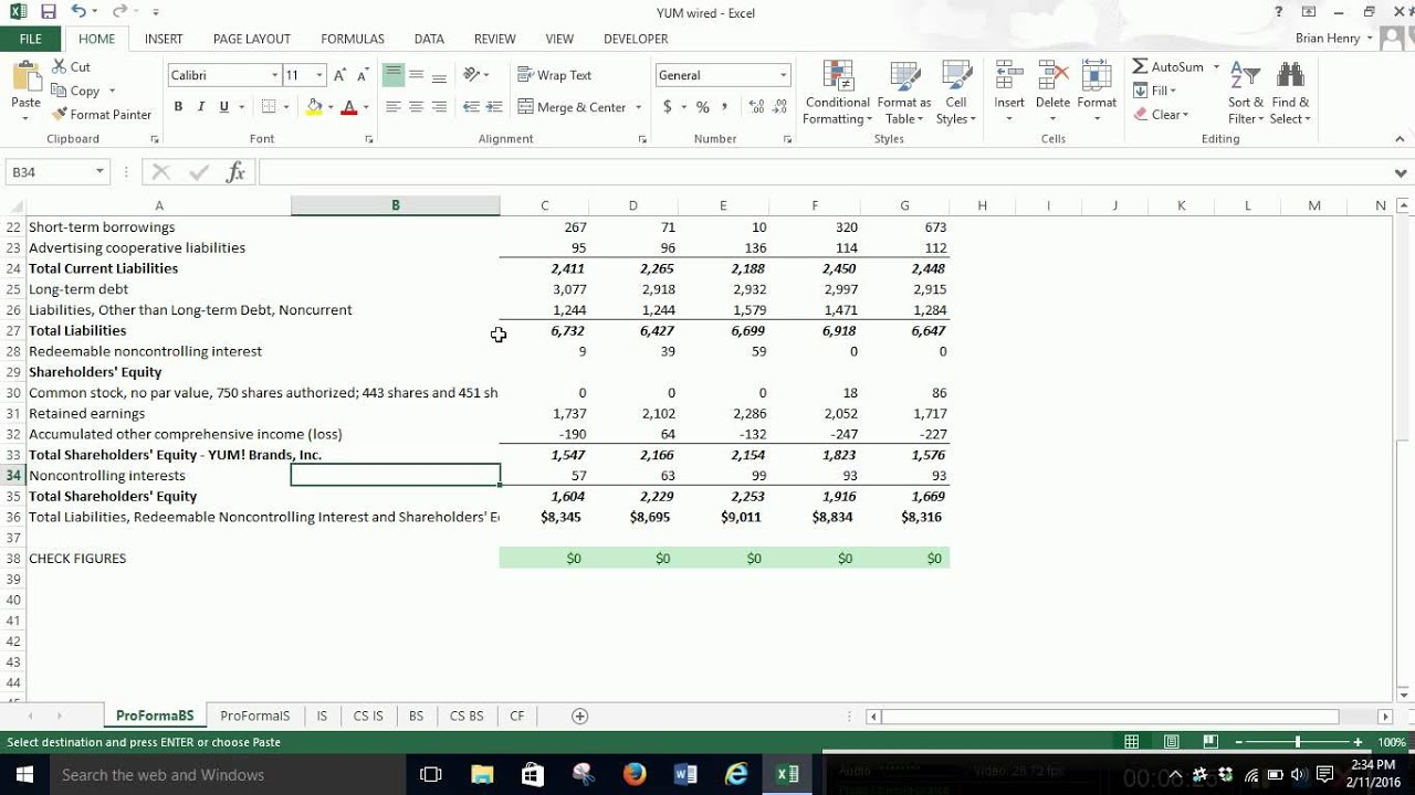 pro forma balance sheet youtube
