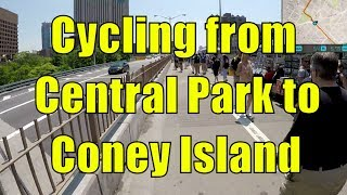 Cycling in NYC from Central Park, Manhattan to Coney Island, Brooklyn (GPS Overlay)