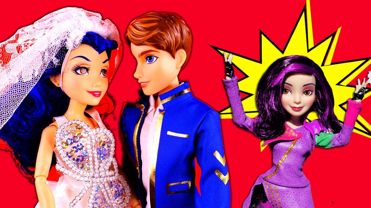 Descendants Evie and Ben Get Married? With Descendants Mal, Frozen Elsa &  Anna, Evil Queen PART 2