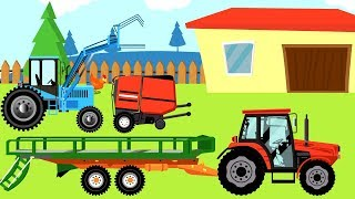 Tractor front Loader | loading hay bales in a field | Agricultural Machinery | Cartoon for Kids
