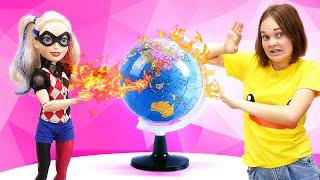 Куклы в видео про Школу - Харли Квин срывает уроки! – Игры для девочек в видео шоу Будет исполнено