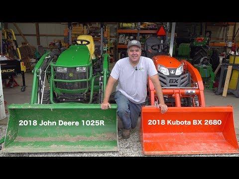 John Deere 1025R Vs  Kubota BX!! Round #1 - YouTube