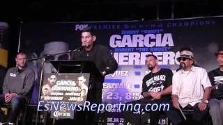 Crazy Angel Garcia on stage at garcia vs guerrero Press Conference - EsNews Boxing