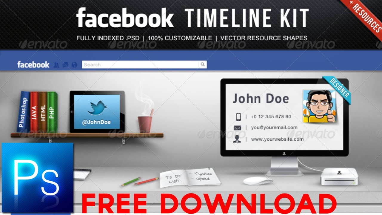 Facebook Timeline Kit Free For Photoshop Youtube