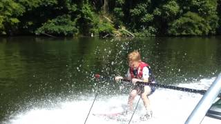 Parker Jax 2nd day waterskiing at Austin Lake in Toronto, Ohio June 14, 2012