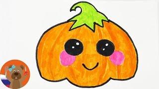 Урок рисования для детей | Рисуем кавайную тыкву в няшном японском стиле