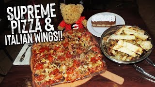 Coal Fired Pizza Challenge w/ Roasted Italian Wings & Chocolate Lasagna!!
