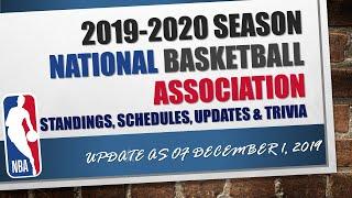 NBA 2019 2020 Season Standings, Schedules, Updates & Trivia as of December 1, 2019