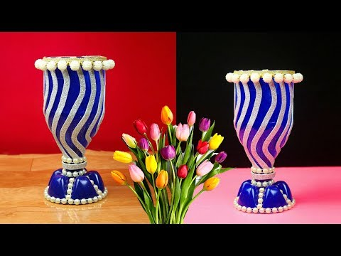 SIMPLE !! Plastic bottle craft ideas easy flower vase || Plastic bottle recycling ideas flower vase