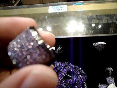 Mr. Chris Da Jeweler Lab Diamond Custom Purple Jewelery - Purple ring, charm, cross