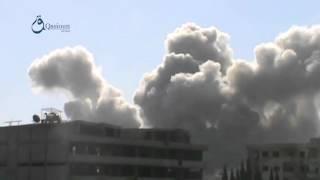 وكالة قاسيون  لحظة قصف بالصواريخ الموجهة على مدينة زملكا بريف دمشق 6-12-2015