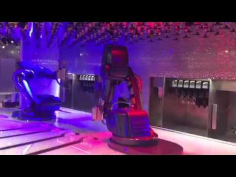 Robot bar tender on Shanghai night club cruise ship