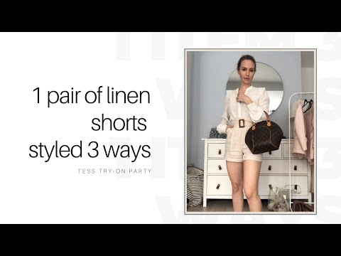 1 Pair Of Beige Linen Shorts Styled 3 Ways