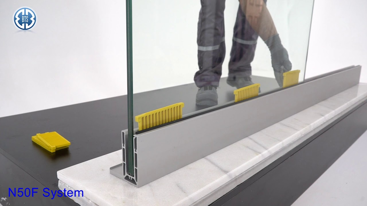 Bts Aluminium N50 F Frameless Glass Railing System Installation | Frameless Glass Stair Railing | Metal | Seamless Glass | Handrail | Framed Glass | Office