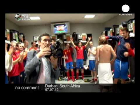 Queen Sofia visiting the Spanish team's dressing room - no comment