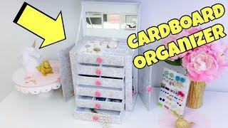Original and creative Ideas(cardboard organizer)jewelry holder. Watch this updated video ALL MEASUREMENTS:https://youtu.be/