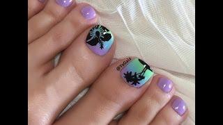 Toe nail art. Reverse gradient/stamping. / Педикюр. Градиент на штампе.
