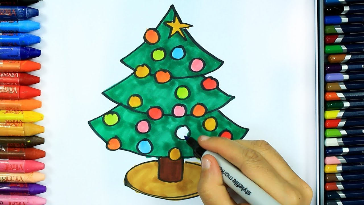 How to draw Christmas tree 🎄 | Drawing | How to color | Drawing and ...