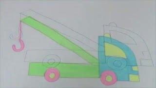 Обучающее видео для детей УЧИМСЯ РИСОВАТЬ ЭВАКУАТОР. Рисуем КАРАНДАШОМ ПОЭТАПНО ЭВАКУАТОР.
