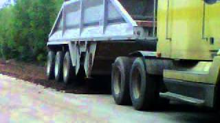 1995 Freightliner Dumping With Tridem Belly Dump On AcadieVille Road