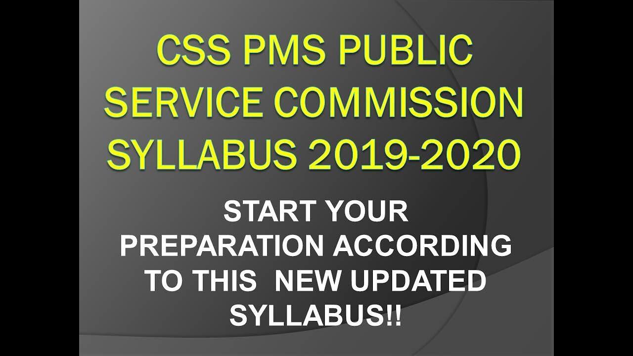 CSS PMS PUBLIC SERVICE COMMISSION syllabus 2018-2019