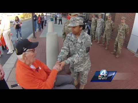 Clemson Cadet Thanks WWII Veteran, Cries At His Response