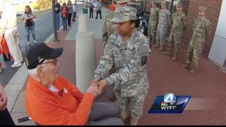 Clemson cadet thanks WWII veteran, cries at his response