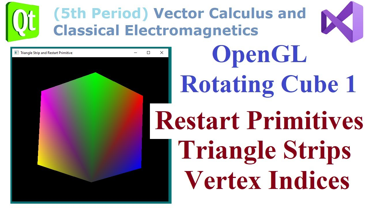 Download 091 - OpenGL Rotating Cube 1, Restart Primitives, Triangle Strips, Vertex Indices