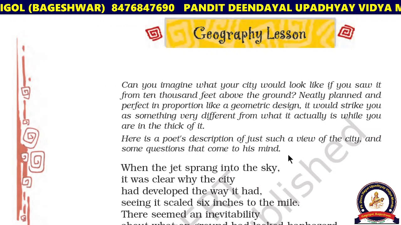 Class 8th The Geography Lesson poem with QUESTIONS ANSWERS ...
