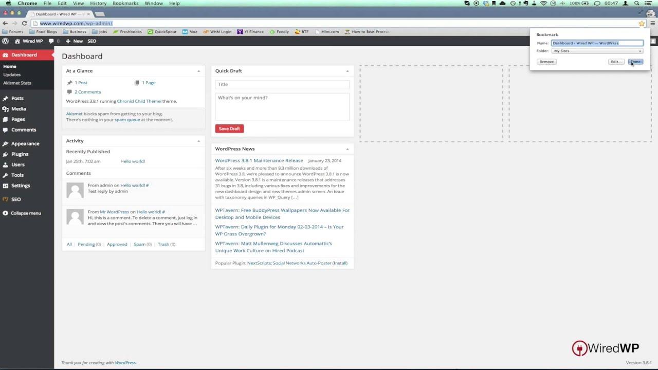 find your wordpress login