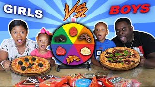 MYSTERY WHEEL OF PIZZA CHALLENGE + BOYS VS GIRLS (VERY FUNNY) | THE BEAST FAMILY