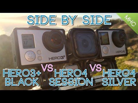Hero4 Session vs GoPro Hero4 Silver vs GoPro Hero3+ Black Side By Side HD