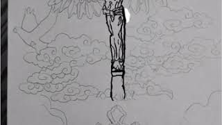 Jesus on the cross with wings and praying hands speed drawing