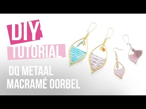 Sieraden maken: DQ metaal macramé oorbel in druppelvorm ♡ DIY
