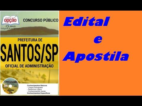 Edital e Apostila Concurso Prefeitura de Santos 2016  Oficial de  Adminstraçao. Apostilas do Concurso e84ec8ce15ec7