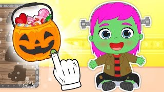 BABY LILY Dresses up as Frankenstein for HALLOWEEN 💚 Cartoons for Kids