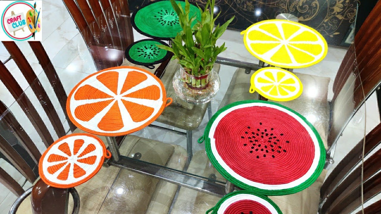 Dining Table Mats And Coasters Fruit Painted Table Mats Rope Craft 2 Youtube
