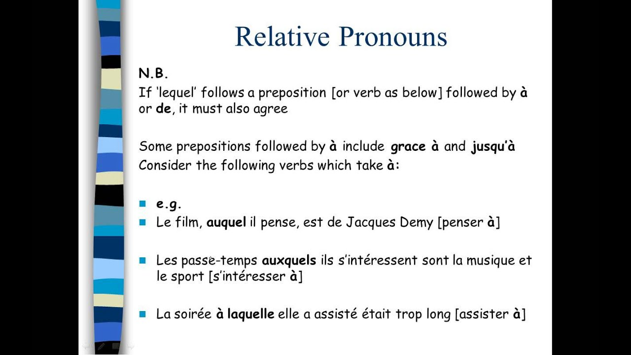 ilearn french relative pronouns lequel youtube. Black Bedroom Furniture Sets. Home Design Ideas
