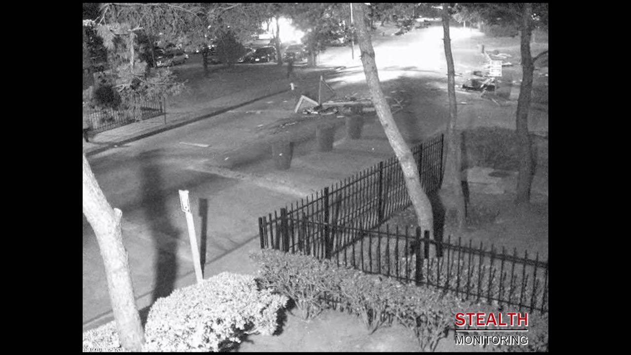 Car Destroys Security Guard Shack - Live Apartment Video Monitoring