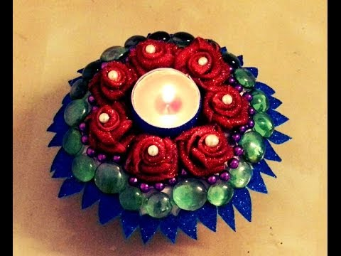 10 minutes diy decorative candle holder with paper plate for Fomic sheet decoration youtube