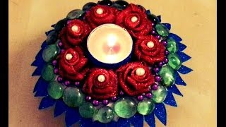 10-minutes Diy: Floral-umbrella Candle Holder With Paper Plate And Foam Sheets!
