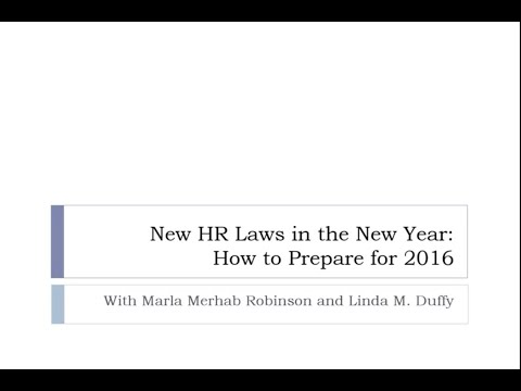 Webinar: New HR Laws in the New Year-2016
