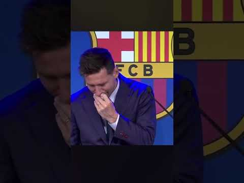 DEVASTATED MESSI SAYS GOODBYE TO BARCA 😢💔🐐 | MESSI PRESS CONFERENCE INTERVIEW #Shorts Thumbnail