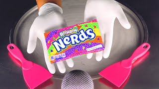 ASMR - Rainbow Nerds Candy Ice Cream Rolls  oddly satisfying Street Food - tapping &amp scratching 4k
